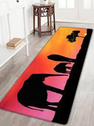 sunset elephants print anti slip floor area rug colormix w16 inch l47 inch