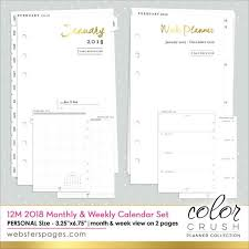 monthly weekly calendar 2018 calendar personal size refill inserts week month color