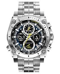 bulova watches macy s bulova men s chronograph precisionist stainless steel bracelet watch 47mm 96b175