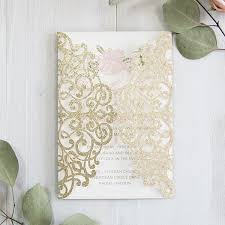 luxury pale gold and blush pink floral laser cut wedding Pink And Gold Wedding Invitation Kits gold glittery laser cut wedding invitation inserted with pink floral card Pink and Gold Glitter Wedding Invitations