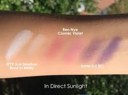 03 ben nye lu 17 cosmic violet anna sui eyeshadow 201 nyx white eye shadow