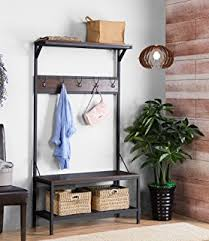 Industrial Coat Rack Bench Amazon Vintage Dark Brown Industrial Look Entryway Shoe Bench 49
