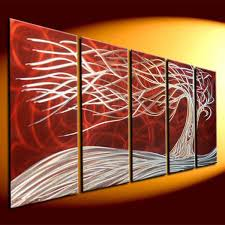 metal art modern art abstrtact art wall oil painting on canvas on metal red tree metal