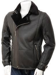mens sheepskin biker jacket in black bickingcott front