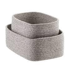 Grey Laguna Cotton Fabric Storage Bins ...