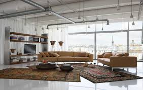 clear glass pendant living room contemporary decorating. Pipe Ceiling Industrial Accent Style Bronze Bonded Leather Mid Century Modern Sofa With Pillows White Porcelain Floor Tile Black Persian Area Rug Artcraft Clear Glass Pendant Living Room Contemporary Decorating