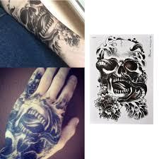 лучшие продажи водонепроницаемый черный страшный череп временные татуировки