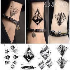 Iorikyo ветвь дерева маленькая геометрия татуировки мужчины рука наклейки тенденция