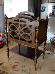 next up is this old wooden magazine rack i love the details of piece from cutout front panel to spindly legs dividers and their vintage rack e10 vintage