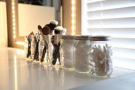 mason jar makeup brush holder. makeup brushes in a mason jar brush holder y