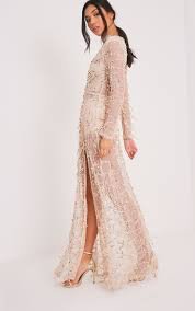 Prettylittlething Womens Valentina Gold Sequin Long Sleeve Maxi