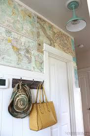 my diy map wallpaper small hallway