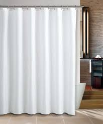 white fabric shower curtain liner