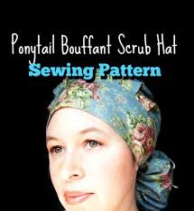Scrub Cap Pattern Classy Scrub Hat Sewing Pattern Tutorial DIY Ponytail Bouffant Scrub Etsy