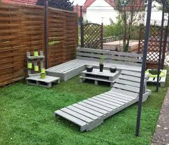 outdoor pallet furniture ideas. Furniture:Excellent Grey Painted Pallet Outdoor Furniture Garden Ideas With Green Seagrass Also Rectangle