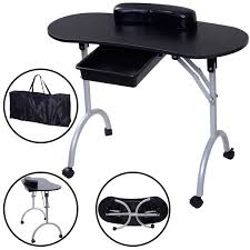 costway portable manicure nail table station desk spa beauty salon equipment black 0
