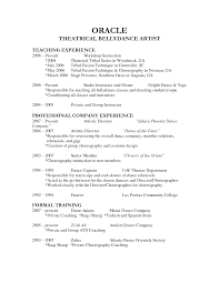 Dance Resume For College Audition Dance Resume Example Audition