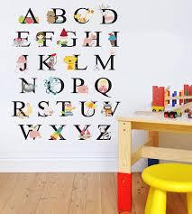 childrens abc alphabet animals wall