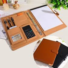 2019 whole ruize leather folder padfolio multifunction organizer planner notebook ring binder a4 file folder with calculator office supply from jiguan