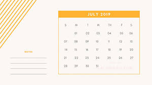 7 July Printable Mini Calendar 2019 Template With Notes