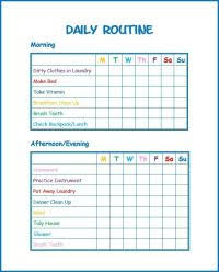 Daily Routine Chart For 8 Year Old