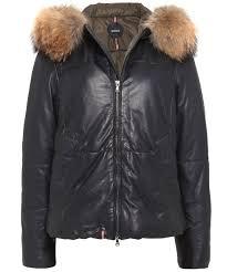 leather arty fur trim jacket