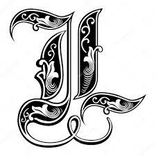 Krásná Dekorace Anglické Abecedy Gothic Styl Písmeno L Stock