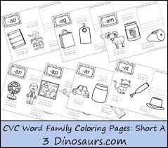 Word Family Coloring Pages Free Cvc Coloring Pages Short Vowel A Cvc Word Families