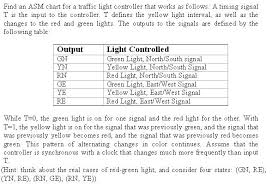 Traffic Signal Timing Chart Solved Find An Asm Chart For A Traffic Light Controller T