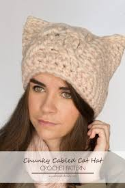 Cat Hat Crochet Pattern Best Chunky Cabled Cat Hat Crochet Pattern Crocheted Crap Pinterest