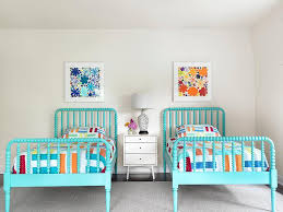 mid century modern kids bedroom. Turquoise Blue Jenny Lind Beds With White Mid Century Modern Nightstand Kids Bedroom M