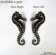 Antique Cabinet Pulls Pair Set Right Left Seahorse Cabinet Handle Solid Brass Knob