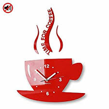 Small Picture Modern kitchen wall clock CUP Red Amazoncouk Kitchen Home