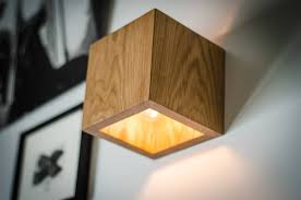 Description. Wooden wall lamp ...