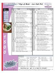Printable Low Carb Diet 1 Week 1500 Calorie Menu Plan