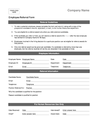 employee sheet template employee referral form office templates