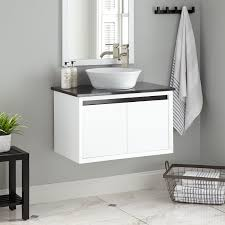 simple ebony wood wall mounted bathroom vanities with a trough f