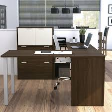 white walnut office furniture. acrylic office furniture modern u shaped desk mixed rustic exposed red white walnut 1