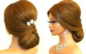 Bridal Hairstyle For Long Hair Tutorial Romantic Prom Updo Youtube