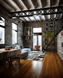 Loft style with brick walls, metal beams, hardwood floors.
