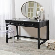elegant black vanity set ikea with oval mirror vanity and glass armchair on pergo flooring