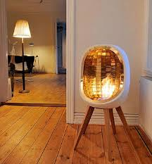 free standing modern reflective piece operating on gas