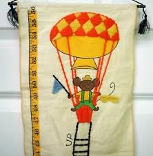 Embroidered Growth Chart Details About Vintage Embroidered Childs Growth Chart Nursery Decor Balloon