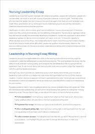 Nursing Leadership Essay Sample Templates At