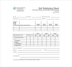 Bid Sheet Template 10 Free Word Pdf Documents Download
