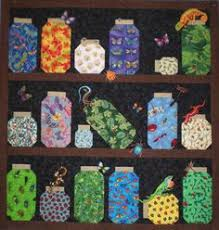Theme and Pictorial Quilts Photo Gallery | Jars, Other and Quilt & Bugs in jars made by my sister! Too cute! Adamdwight.com