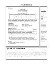 Management Resume Keywords Accounting Manager Resume Property