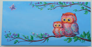 zoom on personalized wall canvas baby with owl gift name sign painting canvas nursery owls girl name
