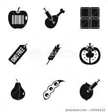 Gmo Free Icon Set Simple Style 插圖素材36968162 Pixta圖庫