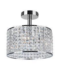 decorative crystal chrome semi flush light ip44